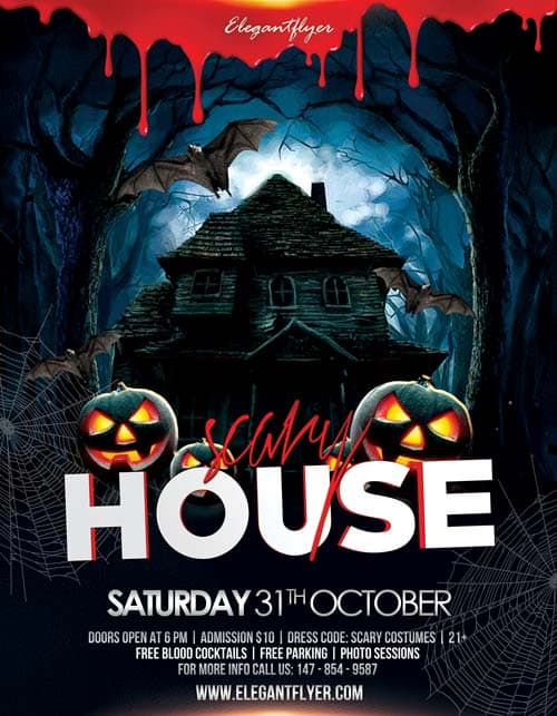 Freepsdflyer Scary House Free Flyer Template Download For Photoshop
