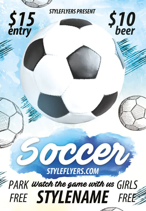 Download Soccer Sports Game Free Flyer Template for Photoshop – Soccer Flyer Template