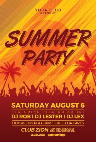Beach Summer Party Free Flyer Template