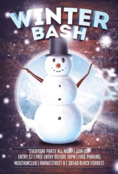 Winter Snowman Bash Free Flyer Template
