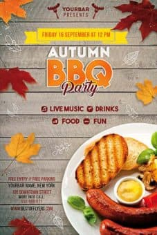 Autumn BBQ Party Free PSD Flyer Template