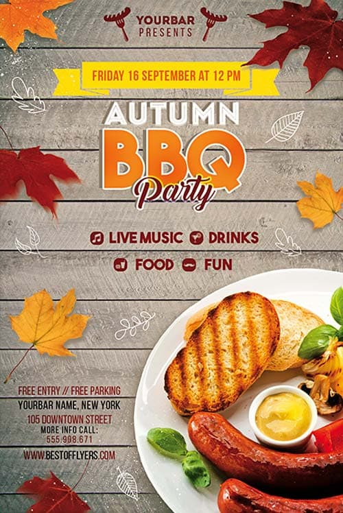 Autumn Bbq Party Free Psd Flyer Template - Download For Photoshop