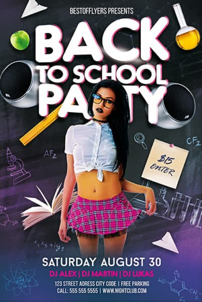 Back To School Party Free Psd Flyer Template - Download For Photoshop