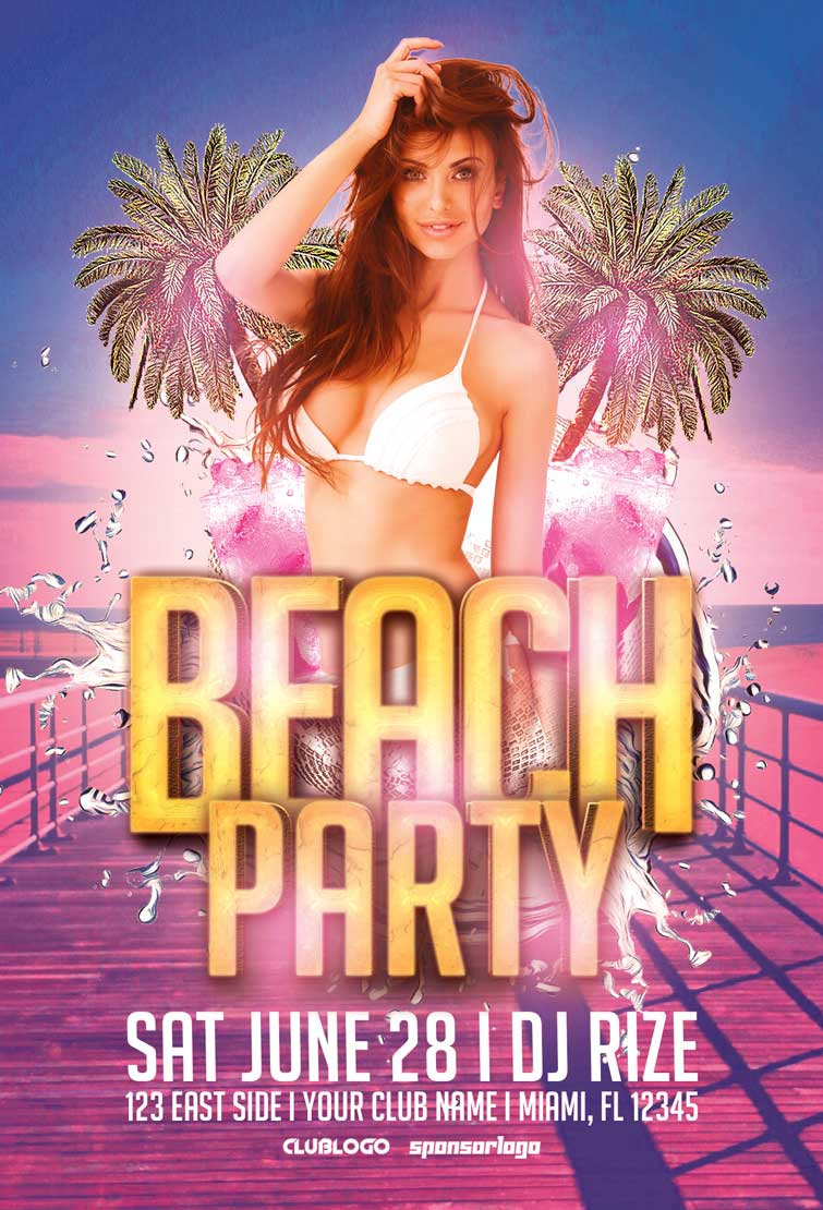 Download easy to use Free Summer Flyer Templates for Photoshop – Beach Party Flyer Template