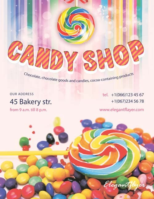 candy shop free flyer template   download for photoshop