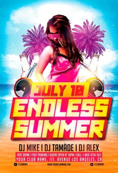 Download Endless Summer Party Flyer Template For Photoshop