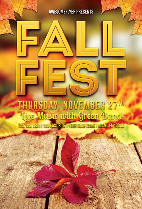 Freepsdflyer  Download Fall Fest Free Flyer Template For Photoshop