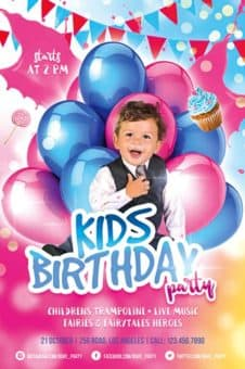 Kids Birthday Party Free Flyer Template