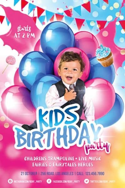 Kids Birthday Party Free Flyer Template  Birthday Flyer Templates Free