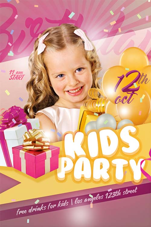 Download the Kids Bday Party Free Flyer Template