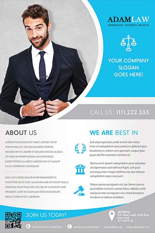 Lawyer service free flyer template download for photoshop for Free business flyer templates