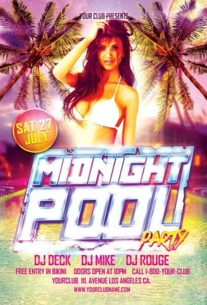 Download Midnight Pool Party Flyer Template For Photoshop