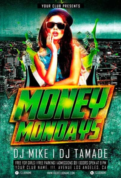 money monday party free flyer template for photoshop
