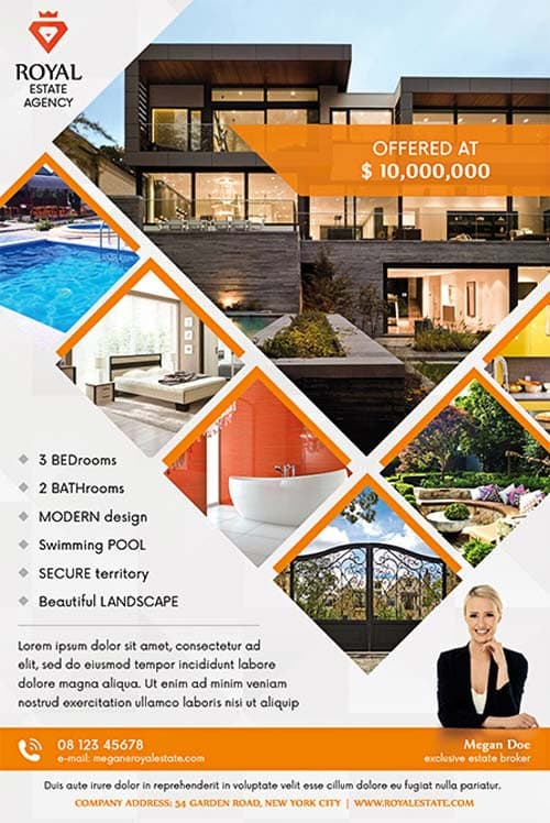 Real estate multipurpose free flyer template download for Real estate brochure templates psd free download
