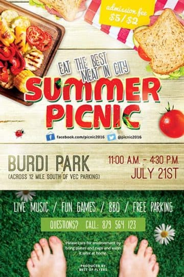 Summer Picknick Free PSD Flyer Template