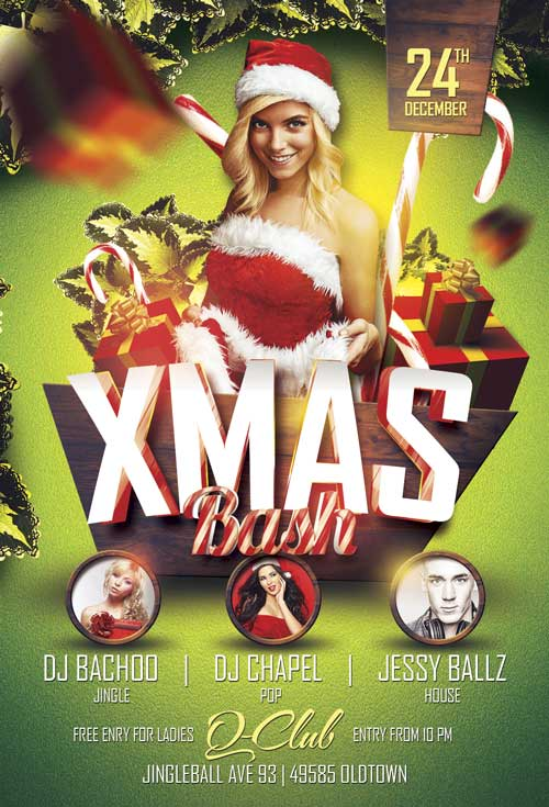 Free psd flyer templates to download for photoshop xmas bash free flyer template pronofoot35fo Gallery