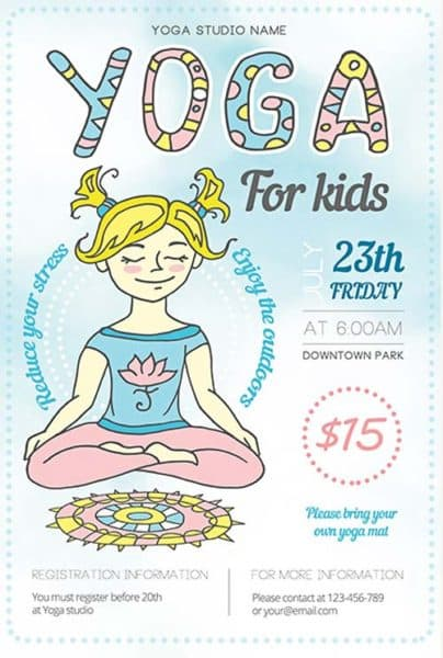 Yoga Fitness Illustration Free Flyer Template