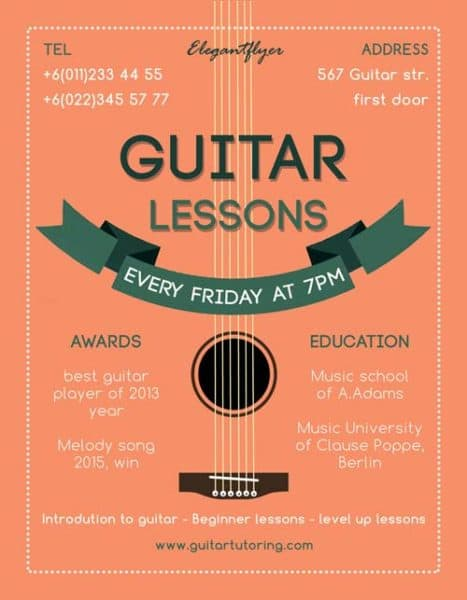 Guitar lessons free flyer template download for photoshop for Free flyer design templates