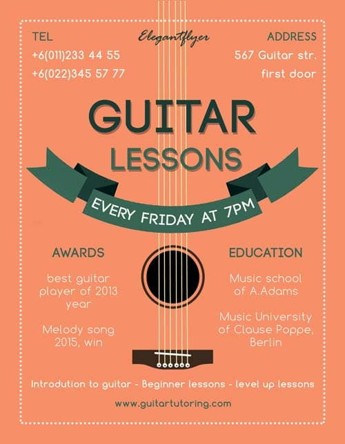 Freepsdflyer  Guitar Lessons Free Flyer Template  Download For