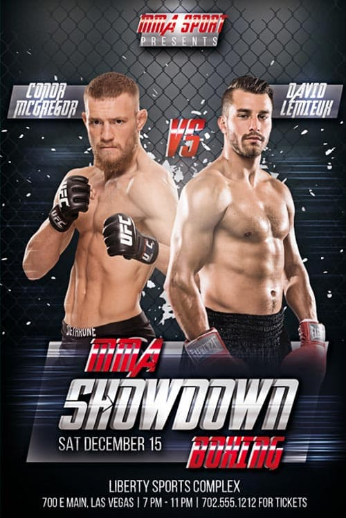 Freepsdflyer  Mma Showdown Boxing Free Psd Flyer Template