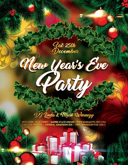 Download the best Free New Year Flyer PSD Templates for Photoshop – Free New Years Eve Flyer Template