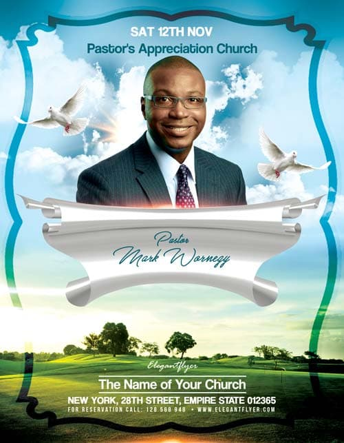 Pastors appreciation church free flyer template download psd for Free church flyer templates photoshop