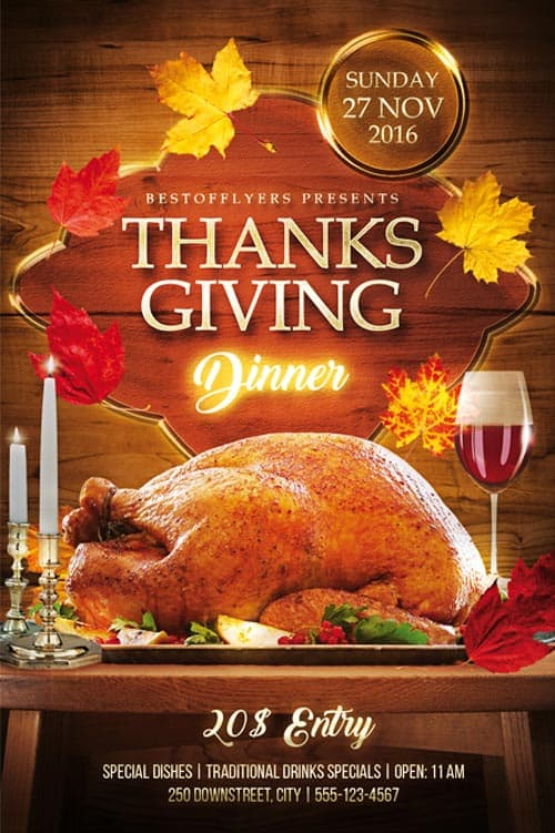 Thanks Giving Dinner Free PSD Flyer Template Download for Photoshop – Dinner Flyer