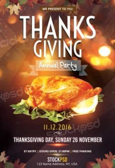 Thanksgiving Annual Party Free Flyer Template