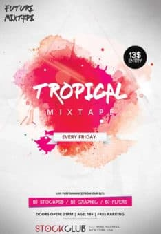 Tropical Mixtape Free Flyer Template