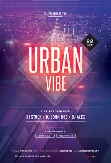 Urban Vibe Electro Party Free Flyer Template
