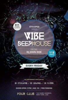 Vibe Deep House Party Free Flyer Template