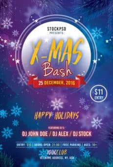X-Mas Bash 2017 Free Flyer Template