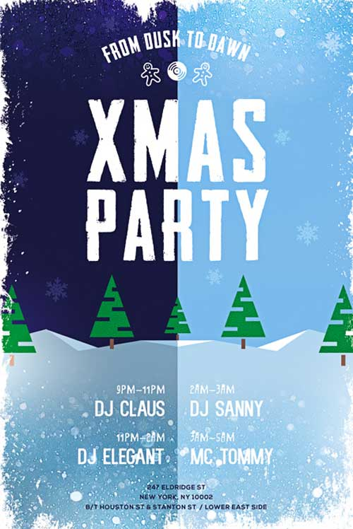 Xmas Party Free PSD Flyer Template  Christmas Poster Template