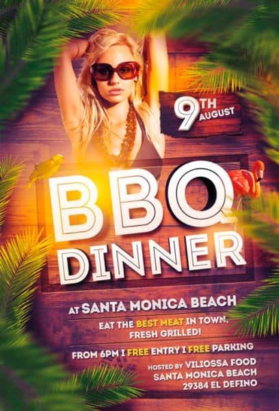 Bbq Dinner Party Free Flyer Template  Download For Photoshop