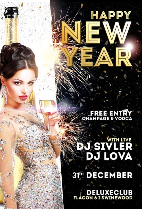 happy new year free flyer template download for photoshop
