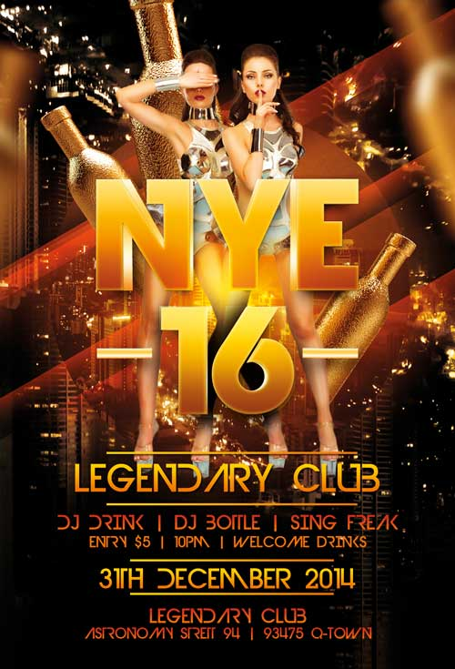 Legendary New Years Eve Free Flyer Template - Download For Photoshop