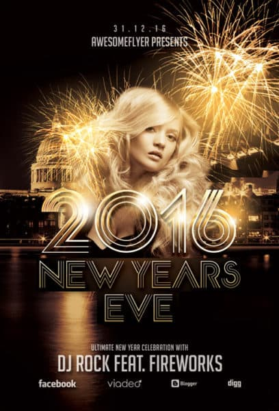 New Year Celebration Free Flyer Template for Photoshop