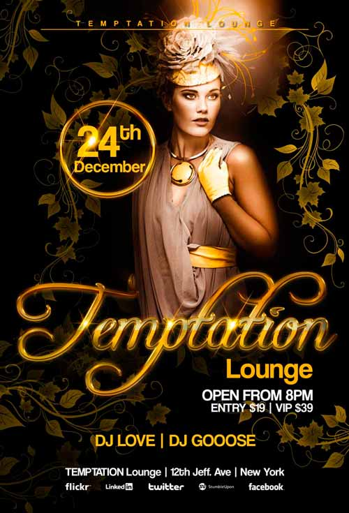 Temptation Lounge Free Flyer Template - Download For Photoshop