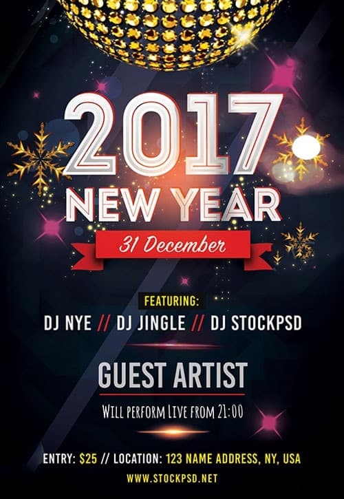 New Year 2017 Free Flyer Template - Download For Photoshop