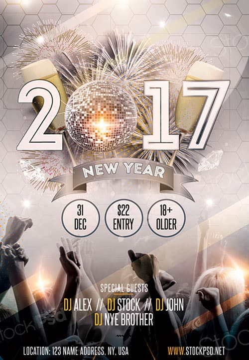 Freepsdflyer  New Year Gold Party Free Flyer Template  Download
