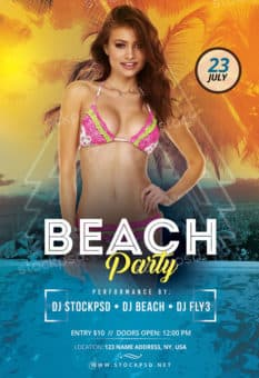 Free Beach Party Event PSD Flyer Template