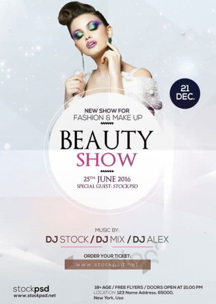 Beauty show free flyer template download for photoshop for Fashion flyers templates for free