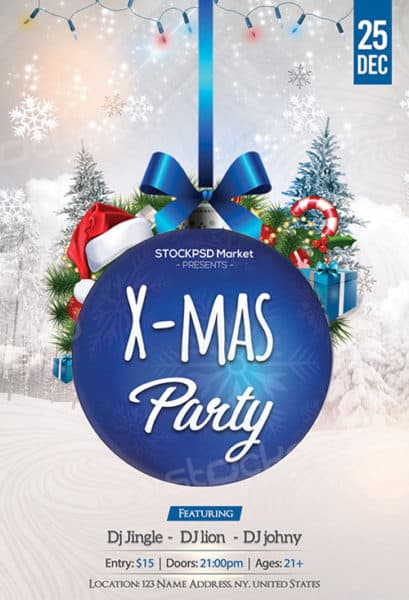 Blue Christmas Party Free Flyer Template - Download for Photoshop