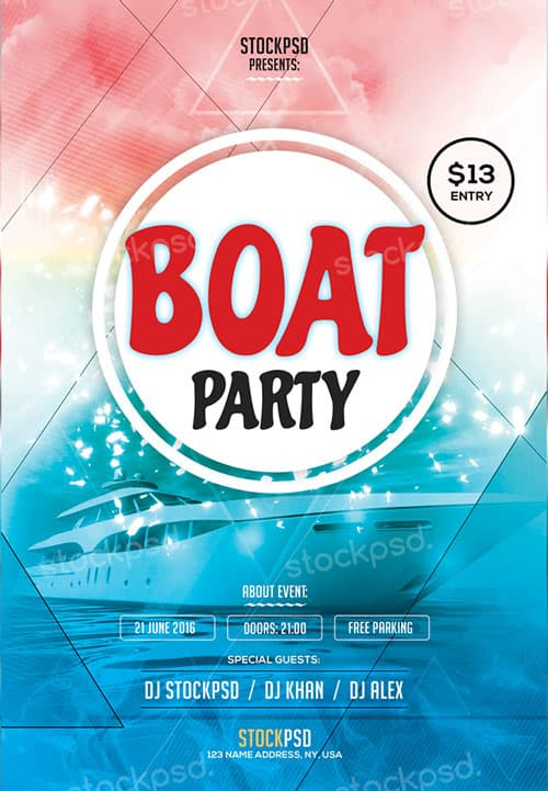 boat party free flyer template
