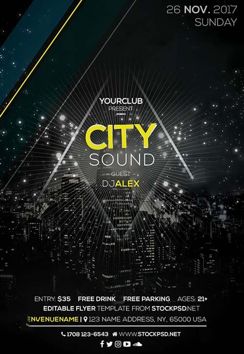 City Sound Party Free Flyer Template