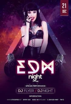 EDM Night Party Free Flyer Template