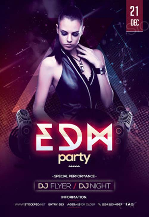 edm party free psd flyer template - Free Psd Flyer Templates