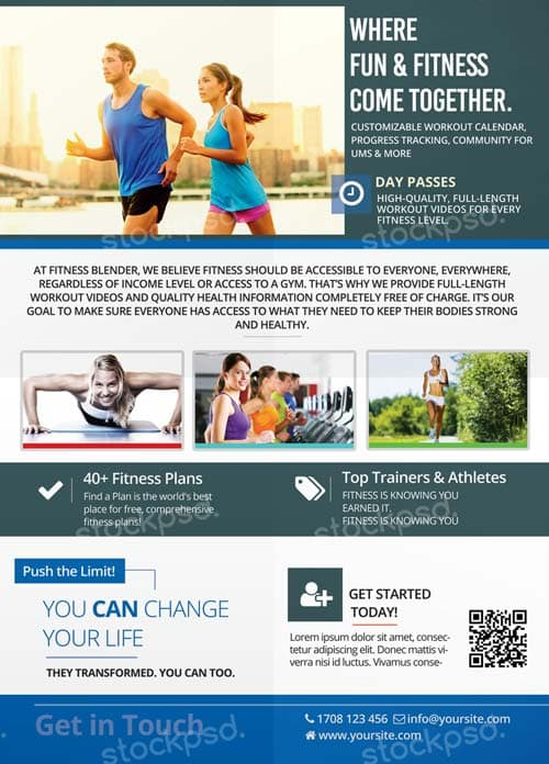 Download Free Fitness Gym Flyer PSD Templates For Photoshop - Fun brochure templates
