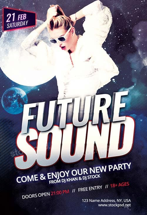 Freepsdflyer Future Sound Party Free Psd Flyer Template Download