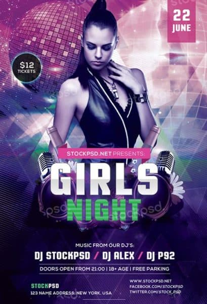Girls Night Party Free PSD Flyer Template
